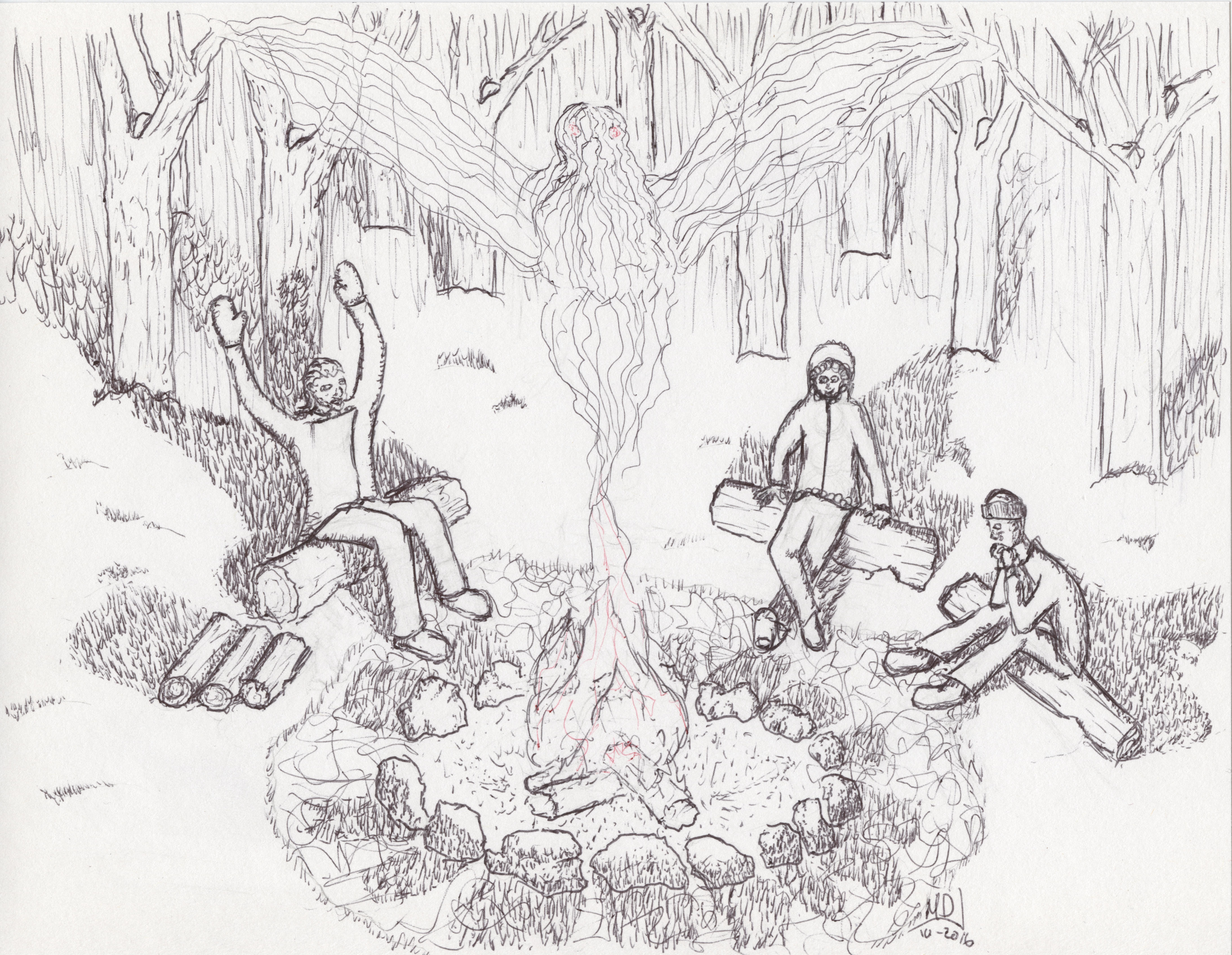A drawing of a group in the woods around a campfire. A story teller evokes the image of a giant bird.