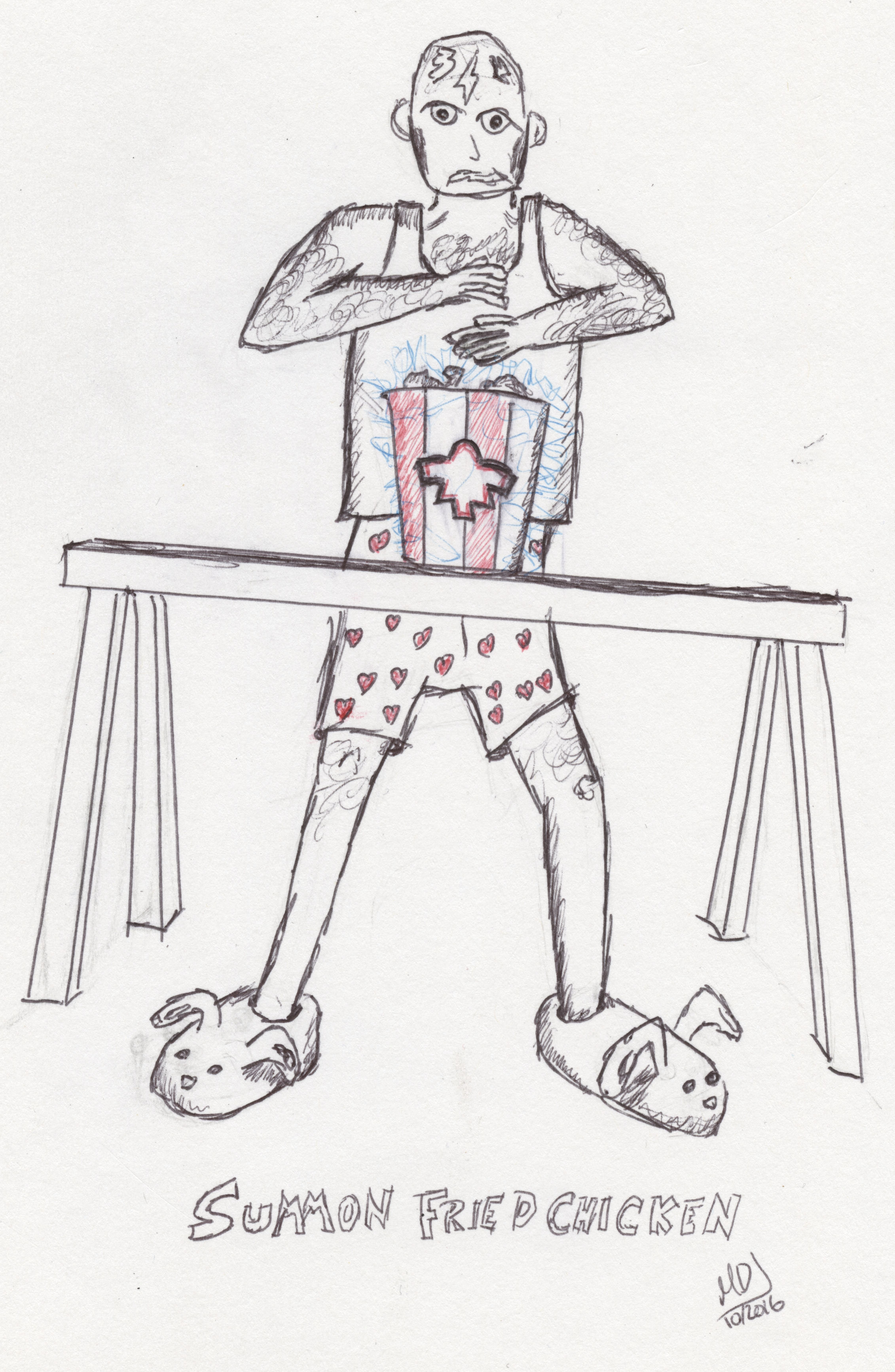 A drawing of a man in boxers and an undershirt, summoning a bucket of chicken.